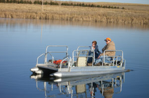 pontoon boat fishing at Circle H Ranch