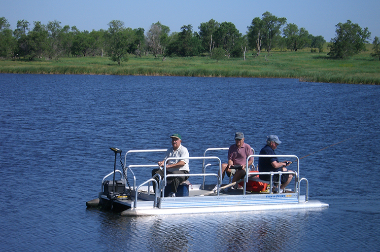 pontoon boat fishing at Circle H Ranch